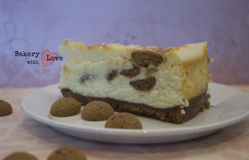 witte chocolade pepernoten karamel cheesecake